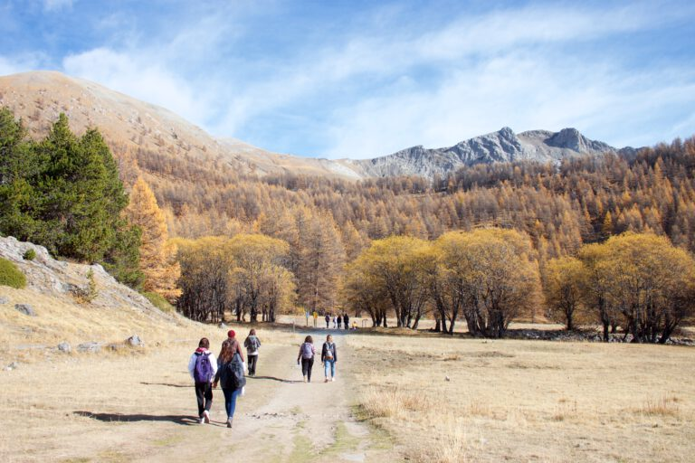 Group of people walking the Lac d'Allos trail in the Mercantour National Park, Alpes-de-Haute-Provence, France